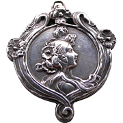 An Exceptional Large Sterling Silver Art Nouveau Slip Locket