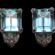 A Pair Of Retro 14K Gem Aqua & Diamonds Earring Clips