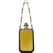 An Art Deco 14K Gold Enamel Perfume Bottle Pendant With Enamel Chain