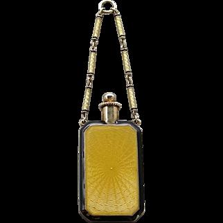An Art Deco 14K Gold Enamel Perfume Bottle Pendant With Enamel Chain