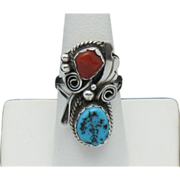 JUSTIN MORRIS Navajo Sterling Silver Turquoise Coral Ring SZ 5.5
