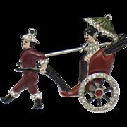 1939 DuJay Du Jay Rhinestone Enamel Rickshaw Brooch Pin RARE Book Piece