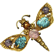 MAXIM France French Gemstone Figural Dragonfly Brooch