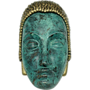 ART DECO 89 Very RARE Aqua Enamel Brass Face Brooch