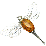 925 Sterling Baltic Amber Figural Dragonfly Brooch