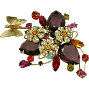 GRAZIANO Large  Rhinestone Glass Butterfly Flower Brooch