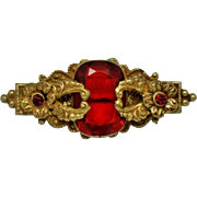 Art Deco Made in Czechoslovakia Brass Red Glass Brooch Open C Clasp