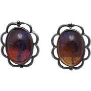 Sterling Silver Dragon's Breath Mexican Fire Opal Cabochon Vintage 1940's Earrings