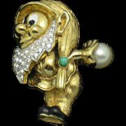 JOMAZ  Figural Dwarf  Gold Plated Rhinestone Brooch Rare Book Piece