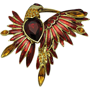 R J GRAZIANO Figural Bird of Paradise Brooch French Enamel Rhinestone