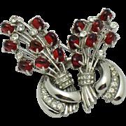 STARET Vintage Red Glass Cabochon Rhinestone  Flower Bouquet Brooch