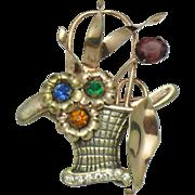 Rare MARNER STERLING Vermeil 1940s  Figural Flower Basket Brooch
