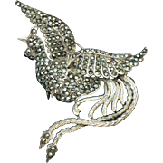 Large ART DECO  Sterling Silver 925 Marcasite Fantasy  Bird Brooch