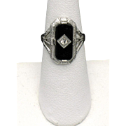 Antique Edwardian Sterling Silver Onyx Diamond Ring SZ 5.5