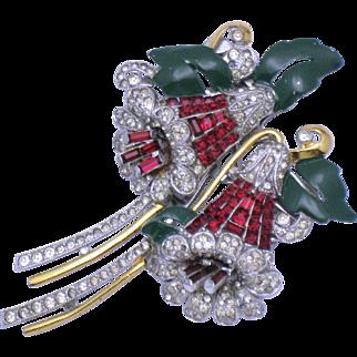 CORO 1939 Bellflower Bell Flower DUETTE Faux Ruby Separable Brooch Pin Clip Rare