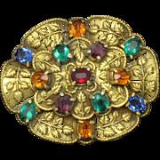 Art Deco Nouveau Ornate  Glass Rhinestone Repousse Brooch - Red Tag Sale Item
