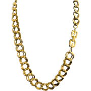 GIVENCHY Couture Gold Plated Double Link Necklace 1980's