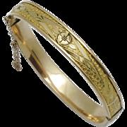Antique Victorian Gold Filled Etched Ornate Bangle Bracelet