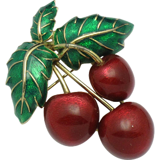 Vintage CINER Metallic Red Green Figural Cherry Brooch Pin