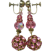 Vintage 1940's Drop Dangle Earrings Pink Fuchsia Crystals  2.75""