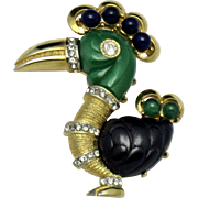 Rare HATTIE CARNEGIE  Dodo Bird Rooster Purple Green Lucite Brooch Pin - Original Case
