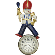 1940's  DuBarry Brooch Pin Figural Soldier Enamel Faux Watch