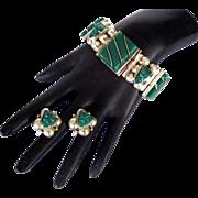 Mexico STERLING 1930's Chrysoprase Face Bracelet & Earrings - 74 Grams