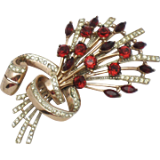 COROCRAFT Sterling Faux Ruby Garnet Rhinestone Floral Bouquet Pin Brooch  BK PC 1944