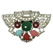 Vintage Deco Style Fruit Salad Rhinestone Dress Fur Scarf Clip Pin