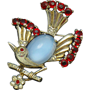 TRIFARI Philippe Sterling Moonstone Rhinestone Bird on a Branch Pin Brooch 1940's