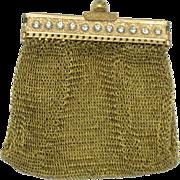 ART DECO 1920s Gold Plated Mesh Rhinestone Coin Purse