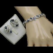 PENNINO Faux Sapphire Diamond Rhinestone Bracelet Earrings Demi SET