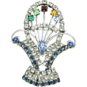 Vintage Rhodium Plated Flower Basket Brooch Pin