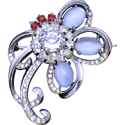 Antique STERLING Blue Moonstone Brooch Pin Hallmarked B.B.