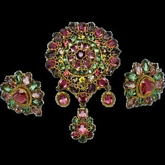ORIGINAL BY ROBERT Demi Parure Rhinestone Wire Filigree Dangle Brooch and Earrings Set