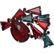 Faux Ruby Sapphire Rhodium Plated Kite Stone Brooch
