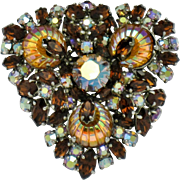 FRENCH France Rhinestone Brooch Pin & Necklace Pendant