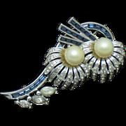 PENNINO Faux Sapphire Rhinestone Pearl Figural Flower Brooch Pin