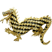 Figural DRAGON Enamel Rhinestone Pin Brooch Vintage