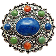 CAROLYN POLLACK Relios Sterling Silver Genuine Gemstone Brooch  & Pendant