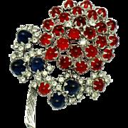 Authentic  EISENBERG Script E Cabochon Glass  Brooch Pin