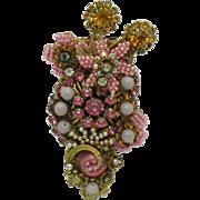 STANLEY HAGLER  Millefiori Gilt Rhinestone Seed Pearl Brooch Pin