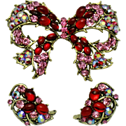 WEISS  Rhinestone Glass Cabochon Bow Brooch & Earring SET Demi Parure
