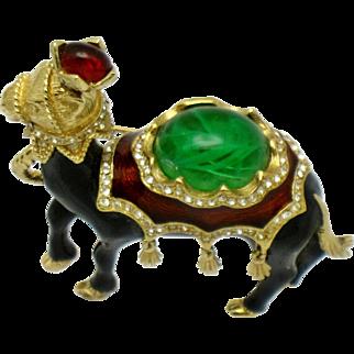 CINER Vintage Enamel Jeweled Flawed Emerald Camel Brooch Pin Mint