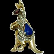 REJA Figural Kangaroo Rhinestone Pin Brooch Rare