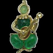 Early CORO CRAFT Corocraft Emerald Glass Cabochon Figural Brooch