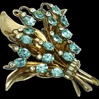 ORIGINAL BY SIMPSON Sterling Vermeil Aqua Rhinestone Floral Pin RARE Donald Simpson
