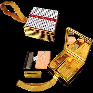 EVANS Vintage Rhinestone Carryall Minaudiere Compact Cigarette Case Lighter MINT Original Tag