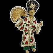 Rare CINER Figural Asian Oriental Geisha Brooch Pin