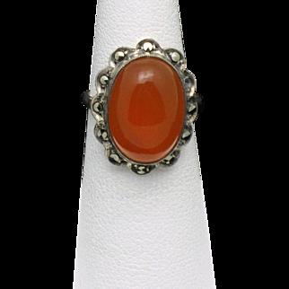 STERLING GERMANY Carnelian Marcasite Vintage Ring Sz 5.5